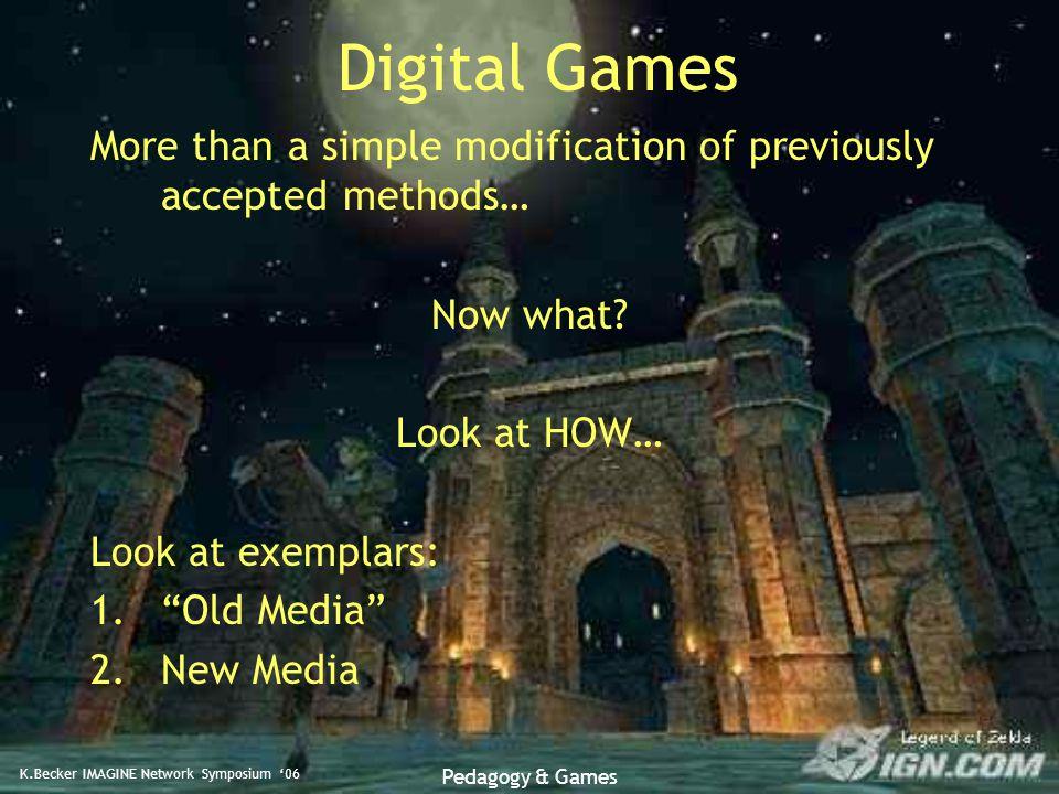 K.Becker IMAGINE Network Symposium '06 Pedagogy & Games Medal of HonorBlack and White How Do Games Teach.
