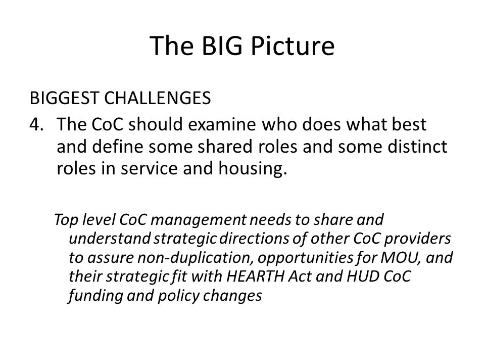 The BIG Picture BIGGEST CHALLENGES 4.The CoC should examine who does what best and define some shared roles and some distinct roles in service and housing.