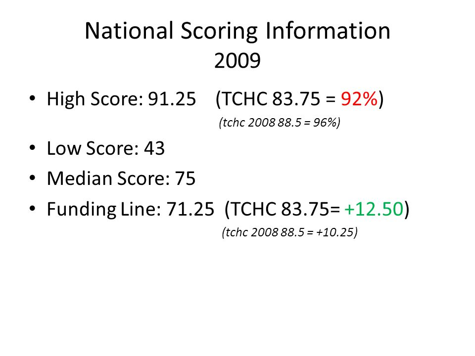 TCHC Overall Comparative 2008 to 2009 Did not score as high More national competition Always room for improvement….