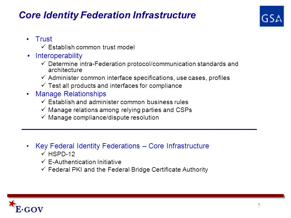 7 Core Identity Federation Infrastructure Trust Establish common trust model Interoperability Determine intra-Federation protocol/communication standards and architecture Administer common interface specifications, use cases, profiles Test all products and interfaces for compliance Manage Relationships Establish and administer common business rules Manage relations among relying parties and CSPs Manage compliance/dispute resolution Key Federal Identity Federations – Core Infrastructure HSPD-12 E-Authentication Initiative Federal PKI and the Federal Bridge Certificate Authority