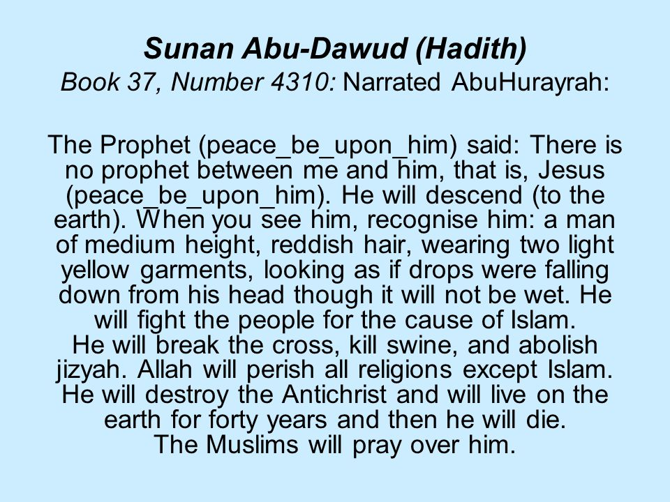 Sunan Abu-Dawud (Hadith) Book 37, Number 4310: Narrated AbuHurayrah: The Prophet (peace_be_upon_him) said: There is no prophet between me and him, that is, Jesus (peace_be_upon_him).