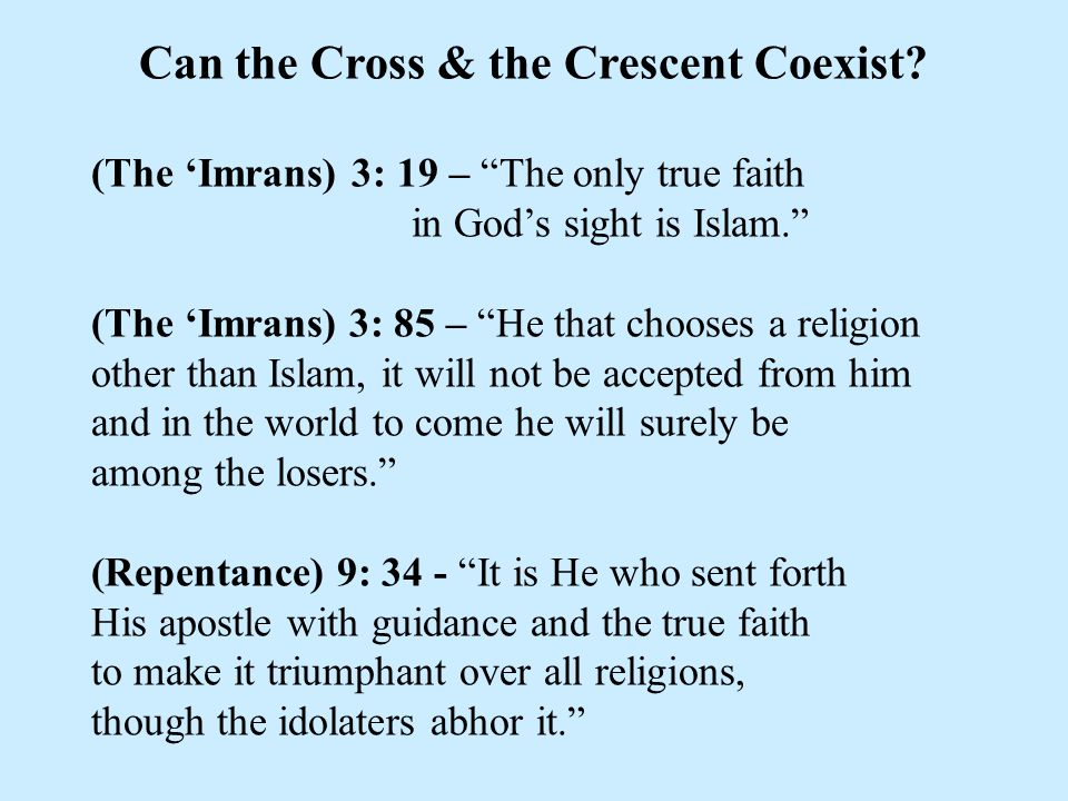 Can the Cross & the Crescent Coexist.