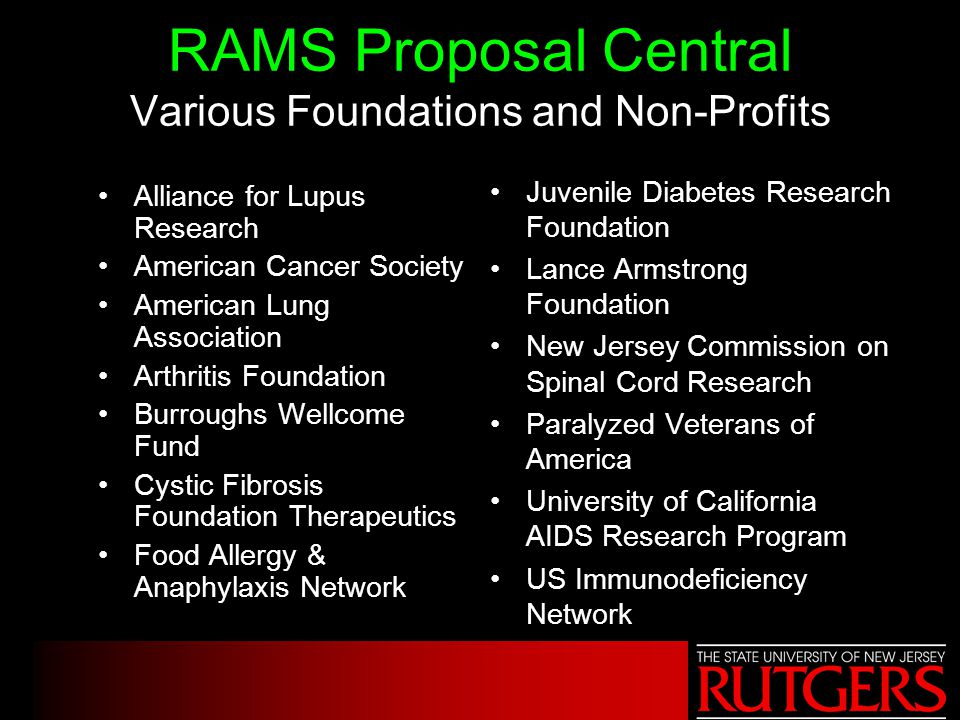 RAMS Proposal Central Various Foundations and Non-Profits Alliance for Lupus Research American Cancer Society American Lung Association Arthritis Foun