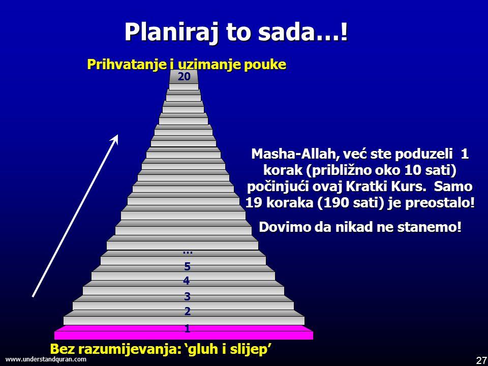 27 www.understandquran.com 1 2 3 4 5 … 20 Masha-Allah, već ste poduzeli 1 korak (približno oko 10 sati) počinjući ovaj Kratki Kurs.