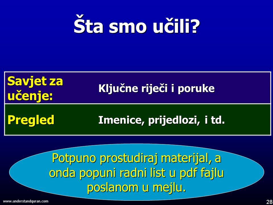 28 www.understandquran.com Šta smo učili.