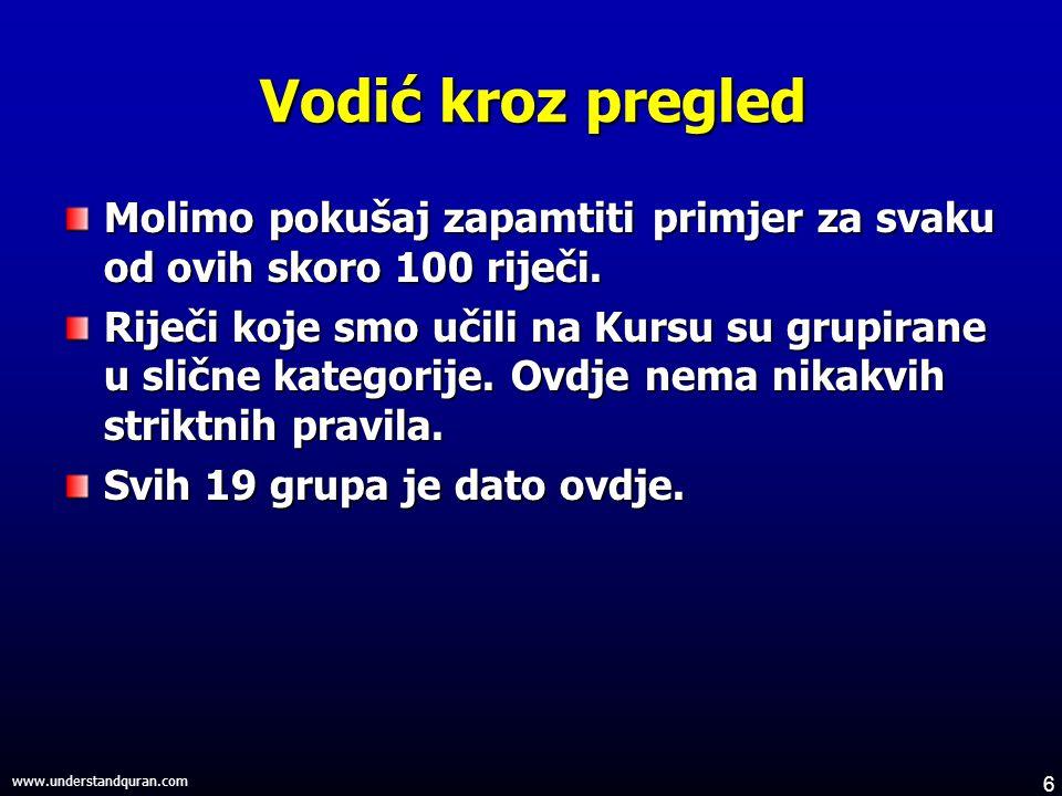 6 www.understandquran.com Vodić kroz pregled Molimo pokušaj zapamtiti primjer za svaku od ovih skoro 100 riječi.