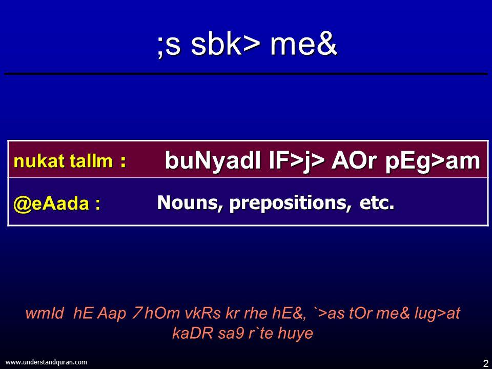 2 www.understandquran.com ;s sbk> me& wmId hE Aap 7 hOm vkRs kr rhe hE&, `>as tOr me& lug>at kaDR sa9 r`te huye nukat talIm : buNyadI lF>j> AOr pEg>am
