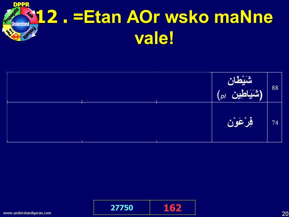 20 www.understandquran.com 12. =Etan AOr wsko maNne vale! 27750 162 mE& pnah me& Aata hU& ALlah kI =Etan mrdUd se أَعُوذُ بِاللهِ مِنَ الشَّيْطَانِ ال