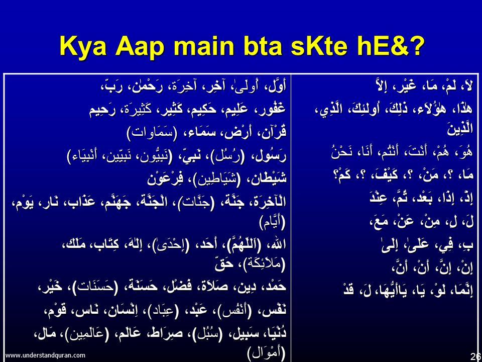 26 www.understandquran.com Kya Aap main bta sKte hE&? أَوَّل، أُولَىٰ، آخِر، آخِرَة، رَحْمٰن، رَبّ، غَفُور، عَلِيم، حَكِيم، كَثِير، كَثِيرَة، رَحِيم ق