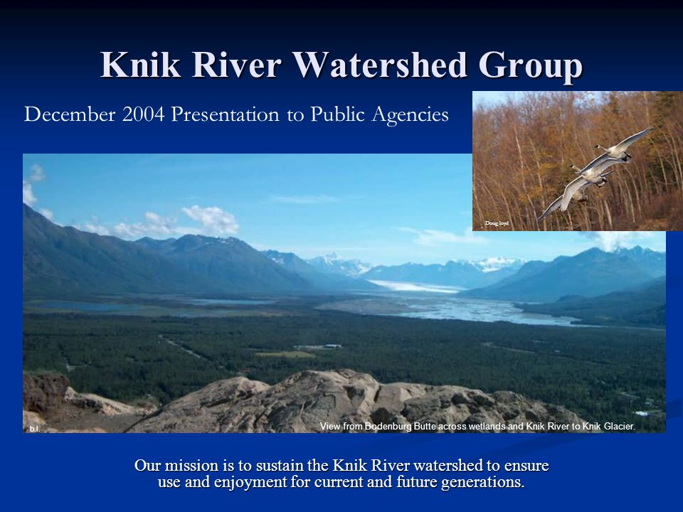 Knik River Watershed Group Our mission is to sustain the Knik River watershed to ensure use and enjoyment for current and future generations.