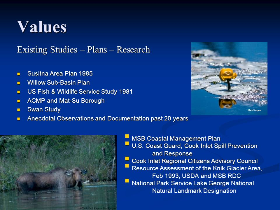 Values Existing Studies – Plans – Research Susitna Area Plan 1985 Susitna Area Plan 1985 Willow Sub-Basin Plan Willow Sub-Basin Plan US Fish & Wildlife Service Study 1981 US Fish & Wildlife Service Study 1981 ACMP and Mat-Su Borough ACMP and Mat-Su Borough Swan Study Swan Study Anecdotal Observations and Documentation past 20 years Anecdotal Observations and Documentation past 20 years  MSB Coastal Management Plan  U.S.