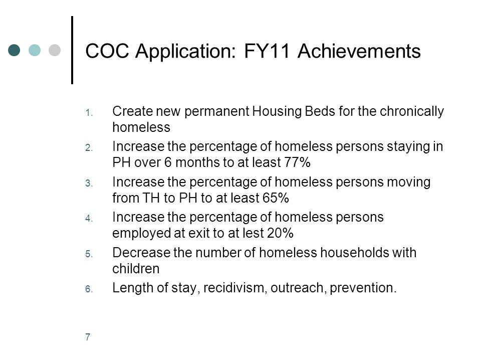 COC Application: FY11 Achievements 1.