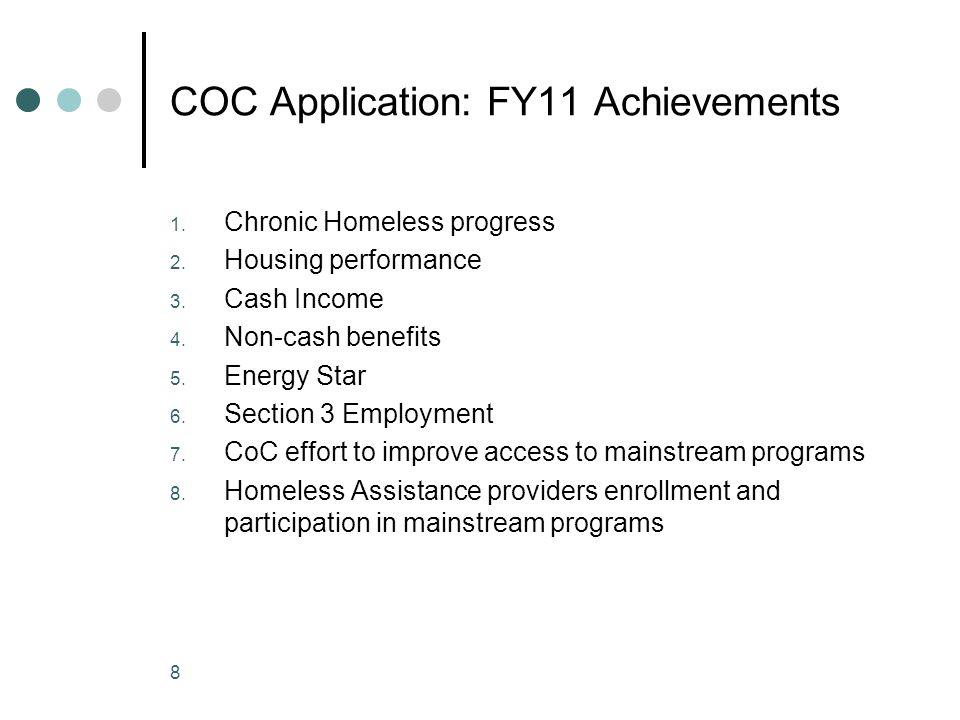 COC Application: FY11 Achievements 1. Chronic Homeless progress 2.