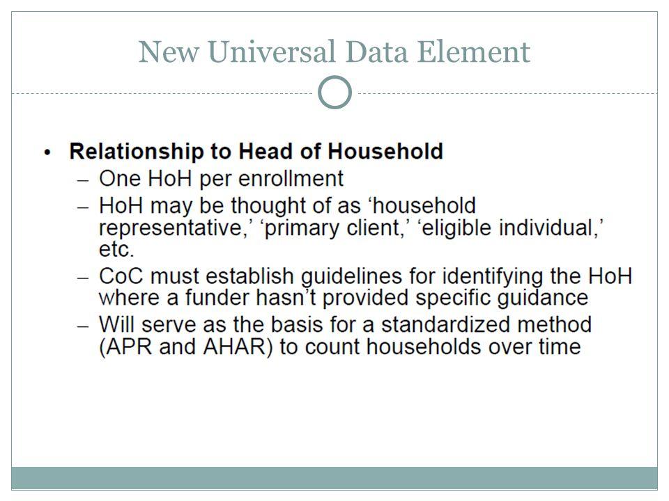 New Universal Data Element
