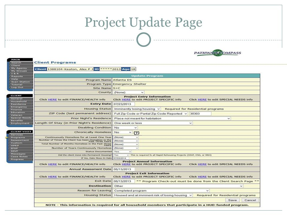 Project Update Page