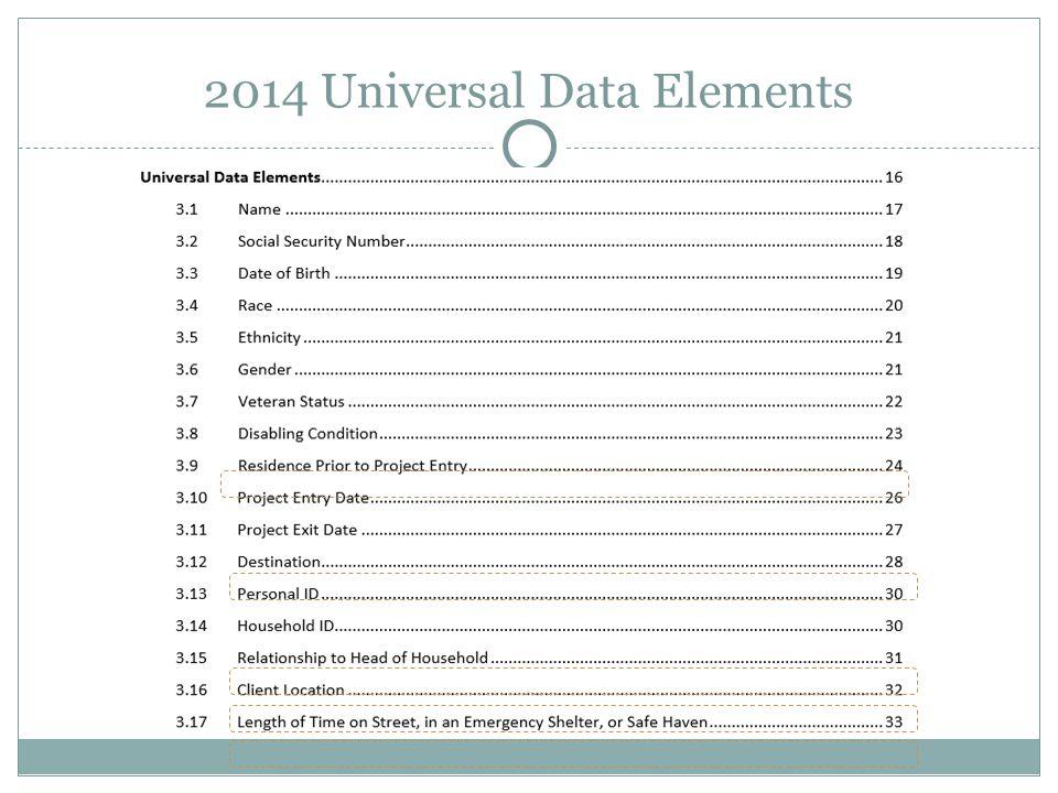 Program Specific Data Elements