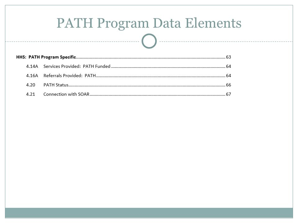 PATH Program Data Elements