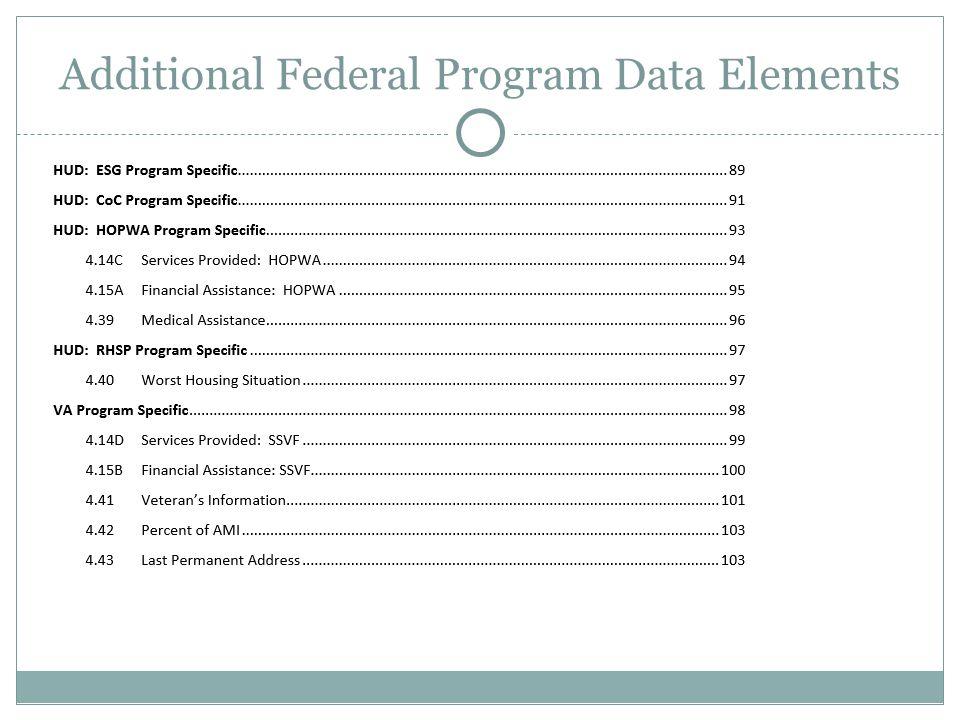 Additional Federal Program Data Elements