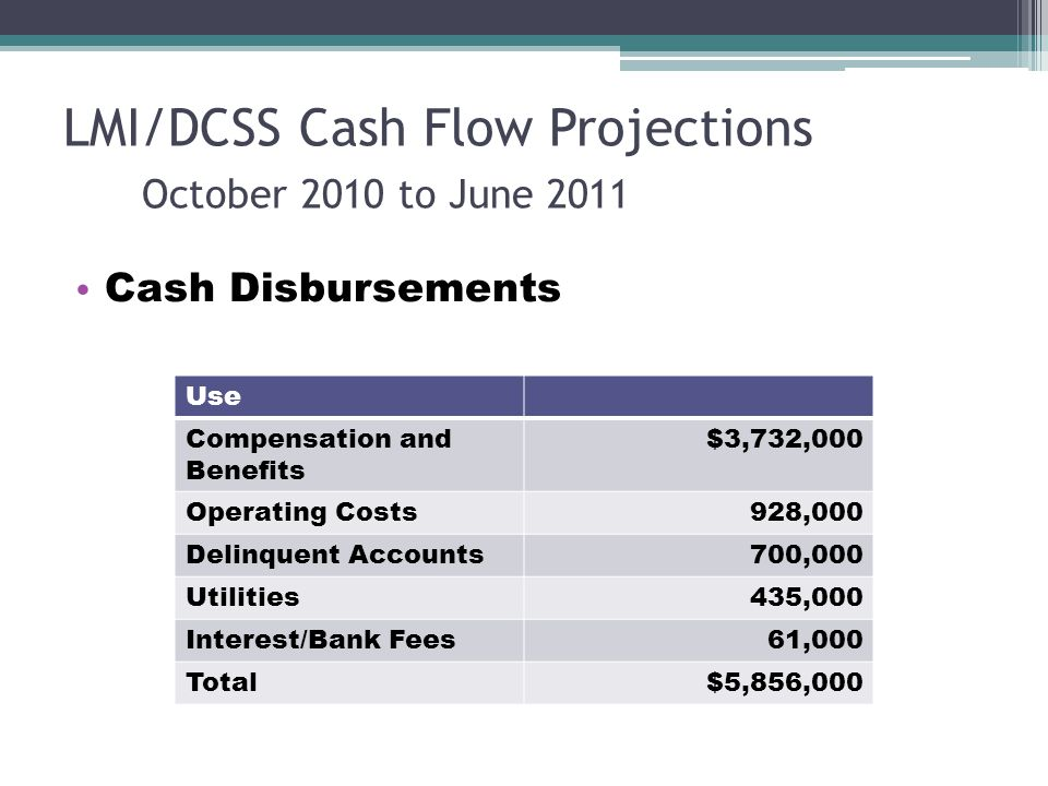 LMI/DCSS Cash Flow Projections October 2010 to June 2011 Cash Disbursements Use Compensation and Benefits $3,732,000 Operating Costs928,000 Delinquent Accounts700,000 Utilities435,000 Interest/Bank Fees61,000 Total$5,856,000