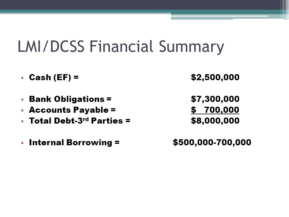 LMI/DCSS Financial Summary Cash (EF) = $2,500,000 Bank Obligations = $7,300,000 Accounts Payable = $ 700,000 Total Debt-3 rd Parties = $8,000,000 Internal Borrowing = $500,000-700,000