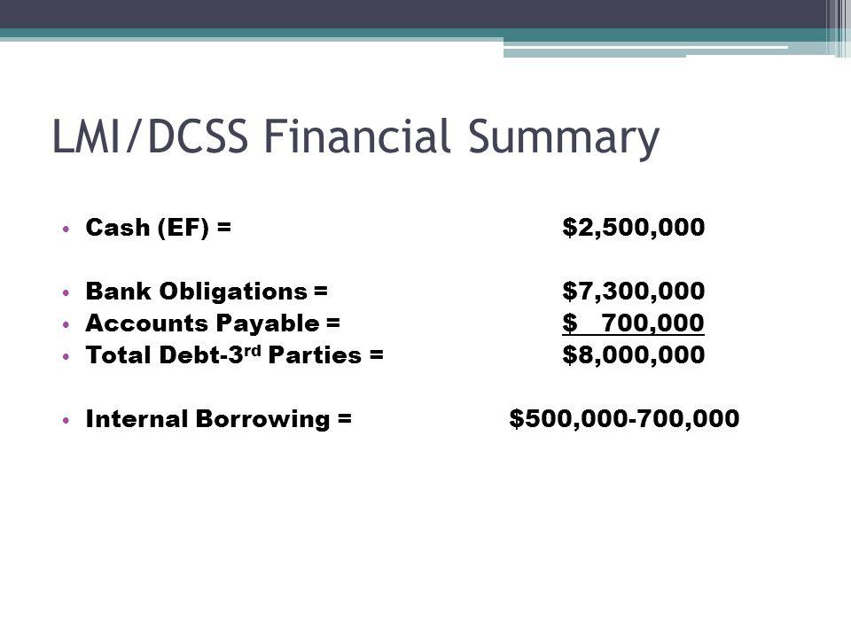 LMI/DCSS Financial Summary Cash (EF) = $2,500,000 Bank Obligations = $7,300,000 Accounts Payable = $ 700,000 Total Debt-3 rd Parties = $8,000,000 Inte
