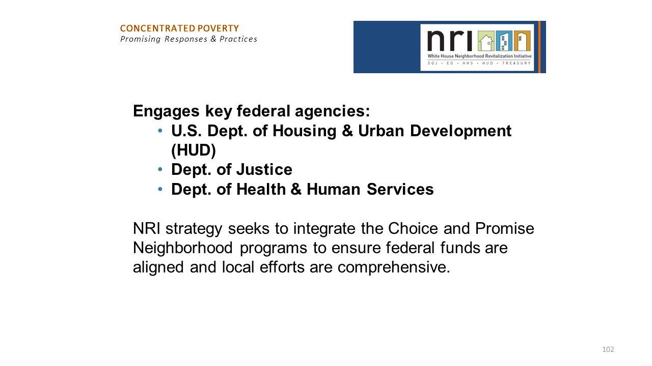 102 Engages key federal agencies: U.S. Dept. of Housing & Urban Development (HUD) Dept. of Justice Dept. of Health & Human Services NRI strategy seeks