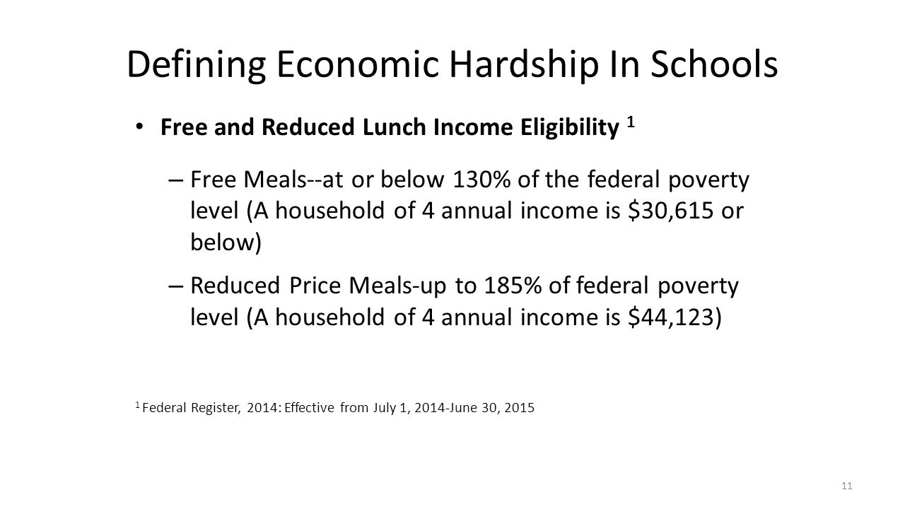 Defining Economic Hardship In Schools Free and Reduced Lunch Income Eligibility 1 – Free Meals--at or below 130% of the federal poverty level (A house