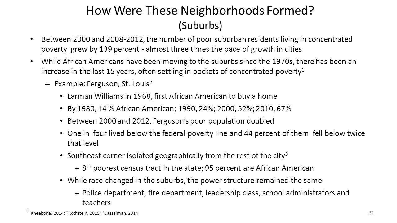 How Were These Neighborhoods Formed? (Suburbs) Between 2000 and 2008-2012, the number of poor suburban residents living in concentrated poverty grew b