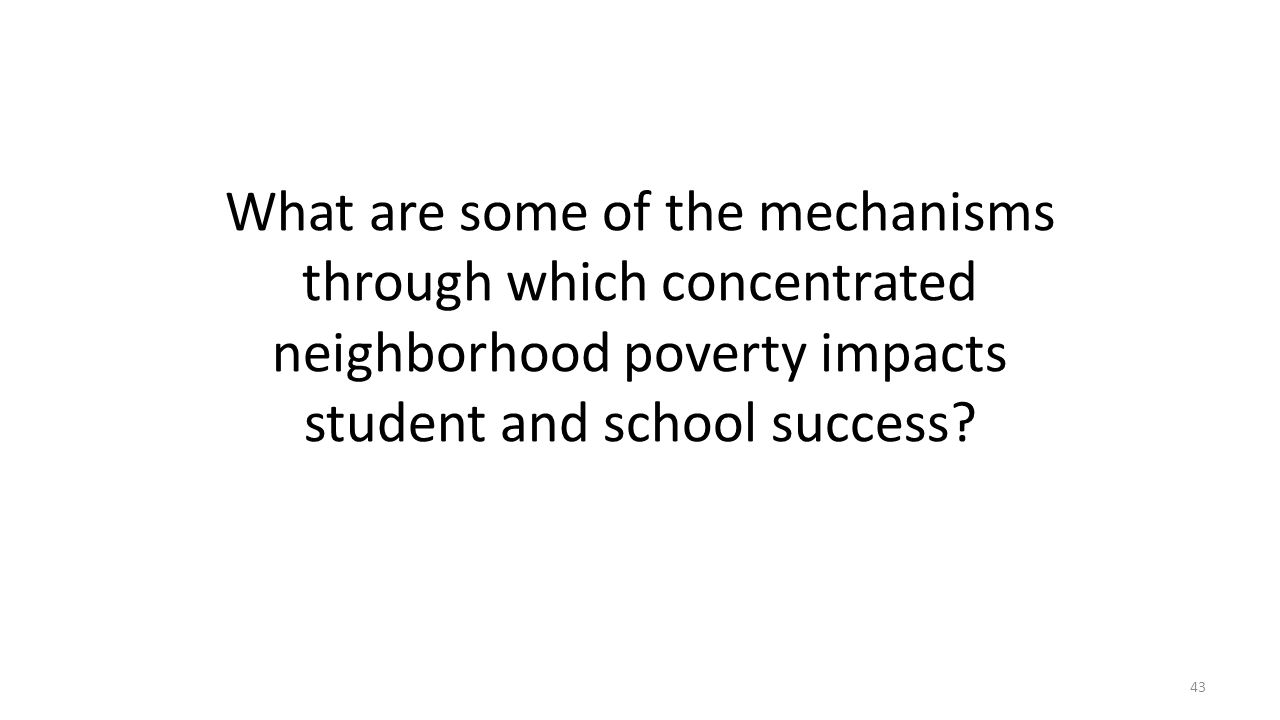 What are some of the mechanisms through which concentrated neighborhood poverty impacts student and school success? 43