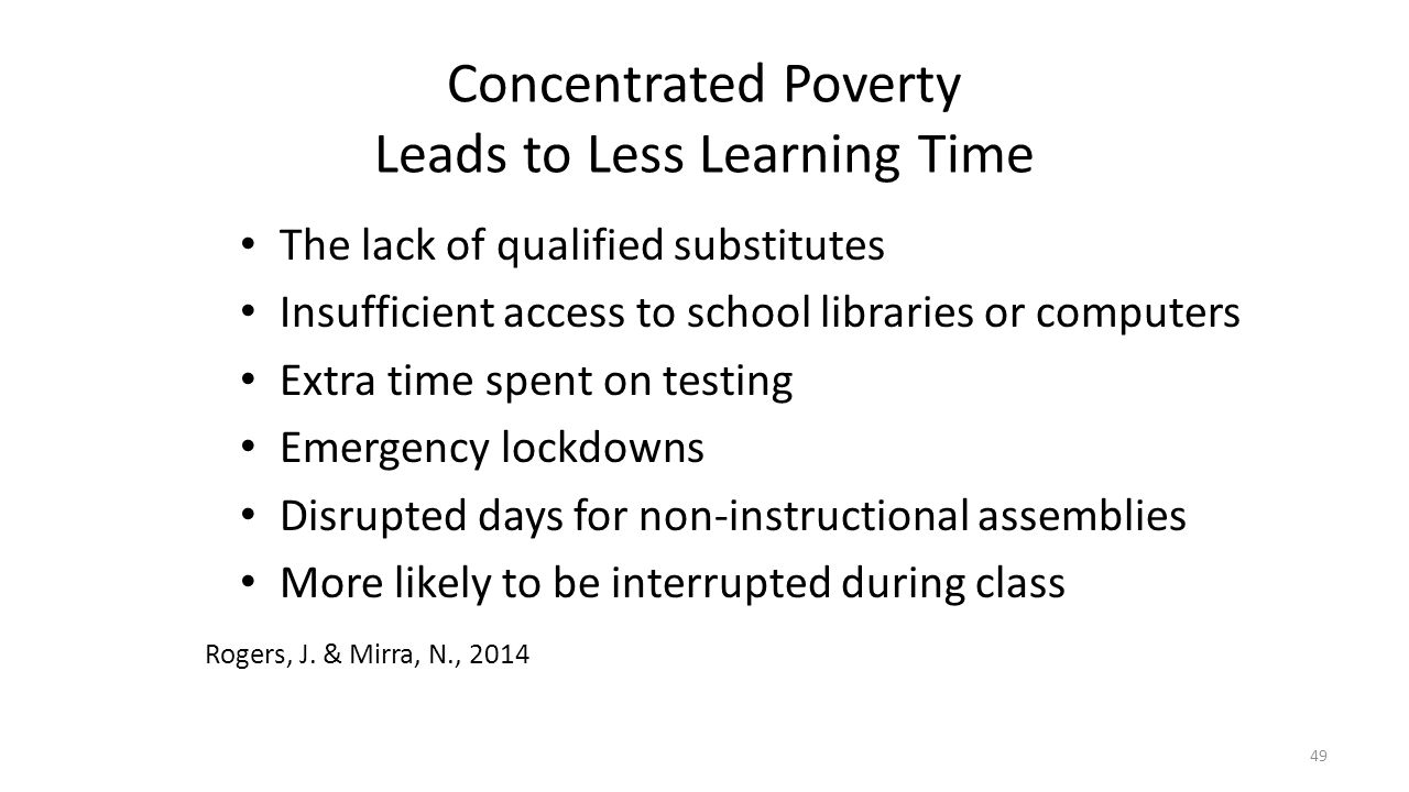 Concentrated Poverty Leads to Less Learning Time The lack of qualified substitutes Insufficient access to school libraries or computers Extra time spe