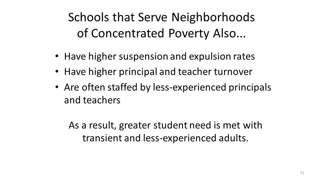 Schools that Serve Neighborhoods of Concentrated Poverty Also... Have higher suspension and expulsion rates Have higher principal and teacher turnover
