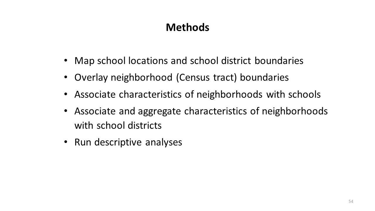54 Methods Map school locations and school district boundaries Overlay neighborhood (Census tract) boundaries Associate characteristics of neighborhoo