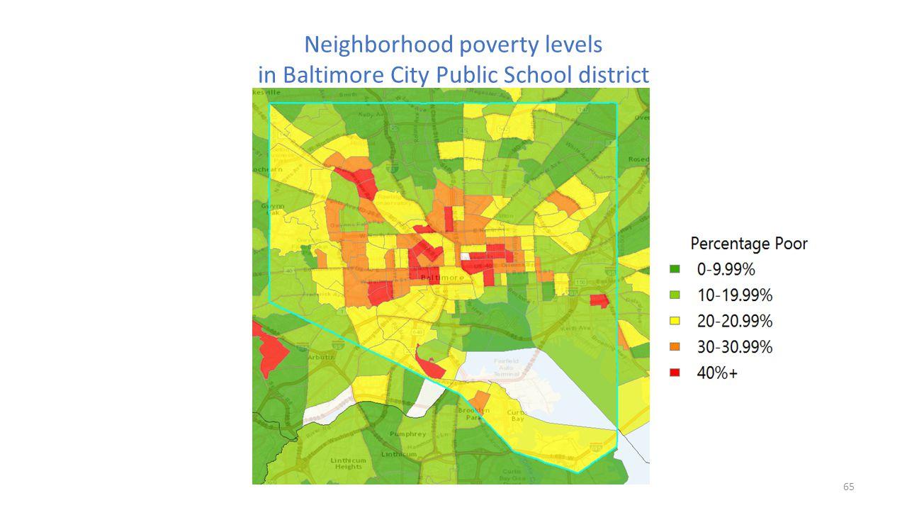 Neighborhood poverty levels in Baltimore City Public School district 65