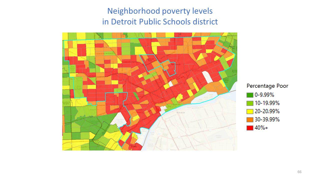 Neighborhood poverty levels in Detroit Public Schools district 66