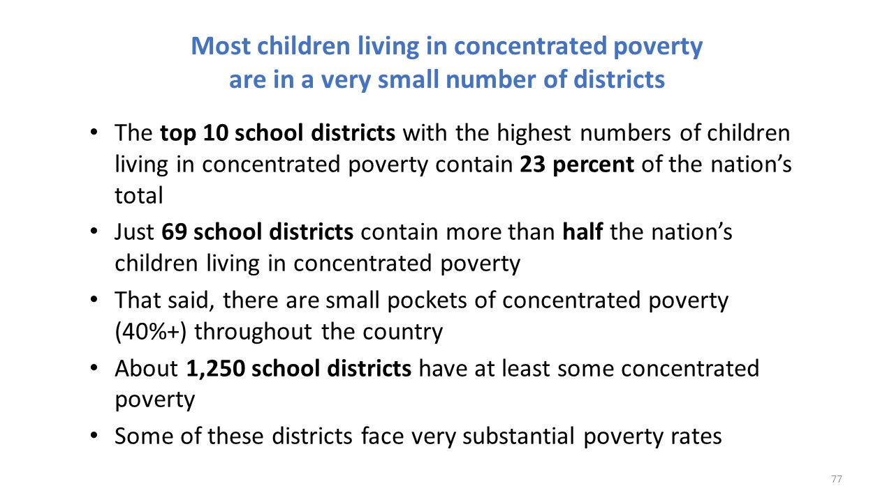 Most children living in concentrated poverty are in a very small number of districts The top 10 school districts with the highest numbers of children
