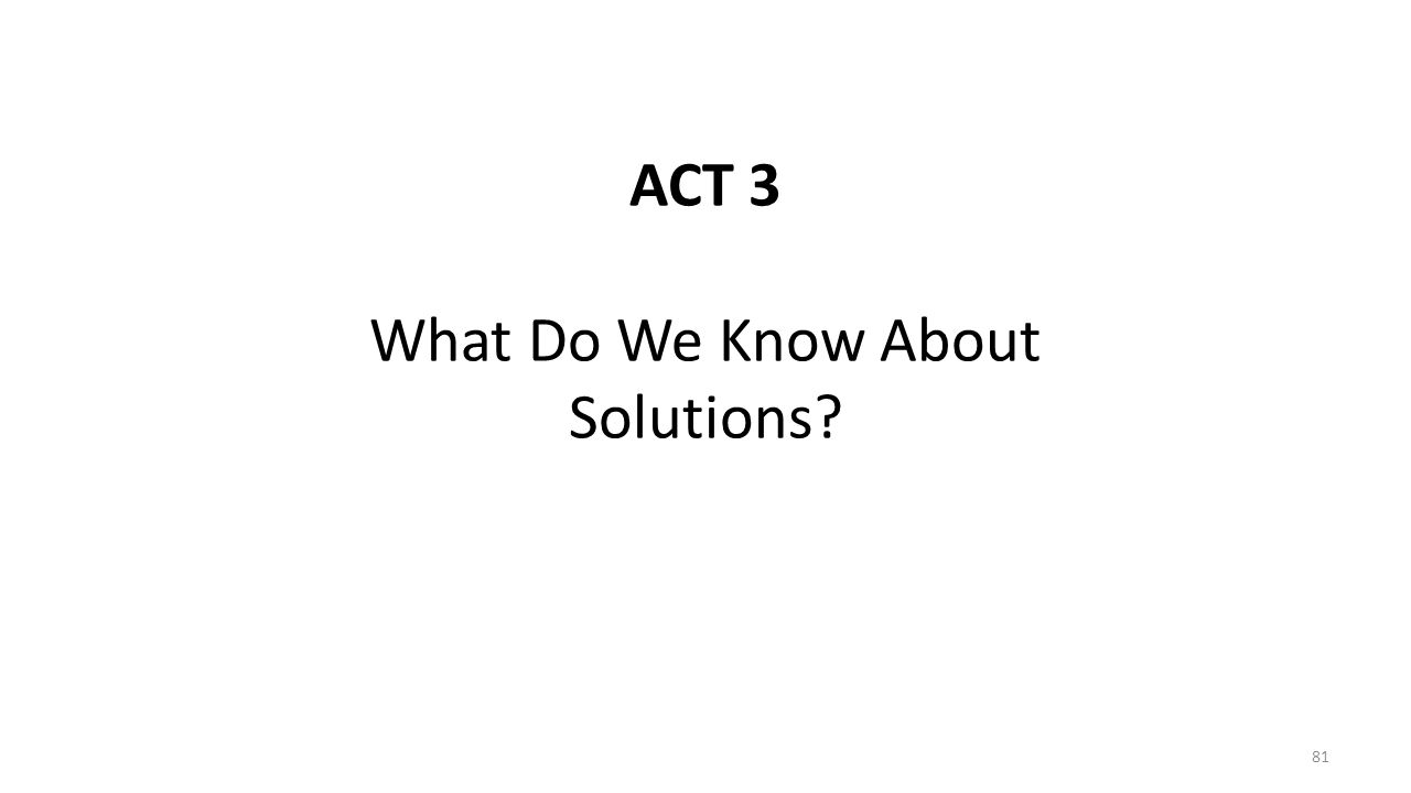 ACT 3 What Do We Know About Solutions? 81