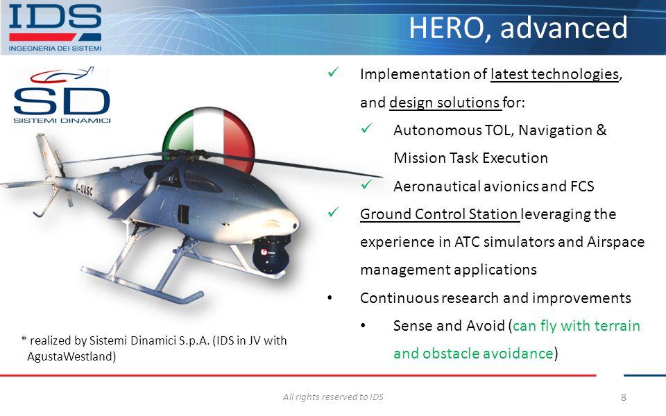8 HERO, advanced Implementation of latest technologies, and design solutions for: Autonomous TOL, Navigation & Mission Task Execution Aeronautical avi