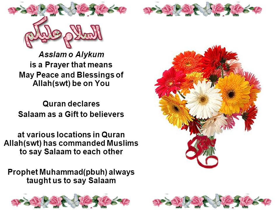 Asslam o Alykum is a Prayer that means May Peace and Blessings of Allah(swt) be on You Quran declares Salaam as a Gift to believers at various locations in Quran Allah(swt) has commanded Muslims to say Salaam to each other Prophet Muhammad(pbuh) always taught us to say Salaam