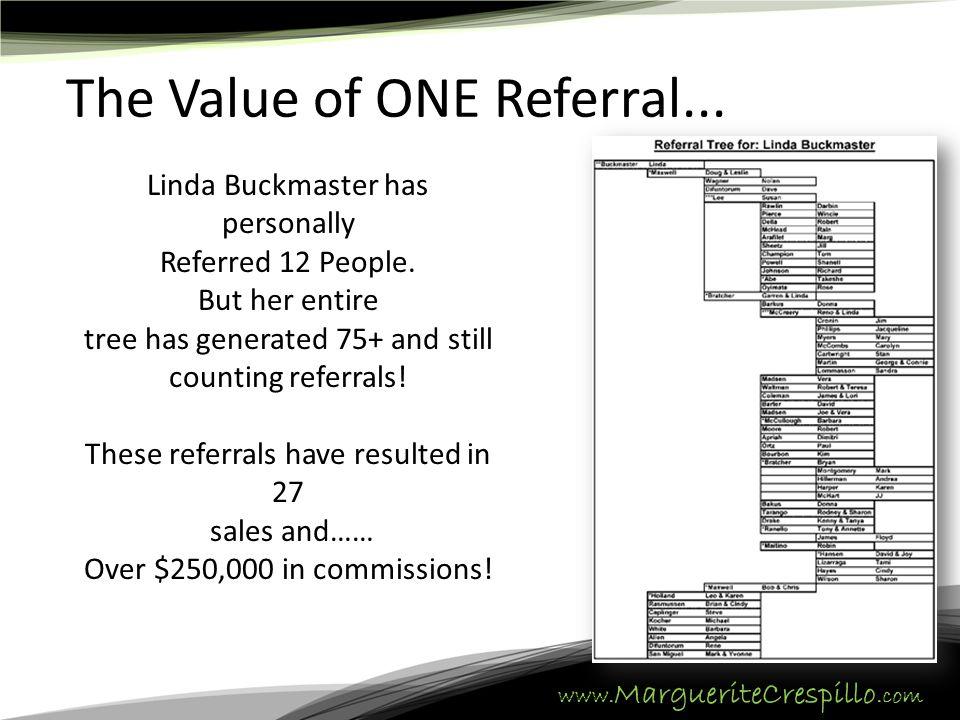 www. MargueriteCrespillo.com The Value of ONE Referral...