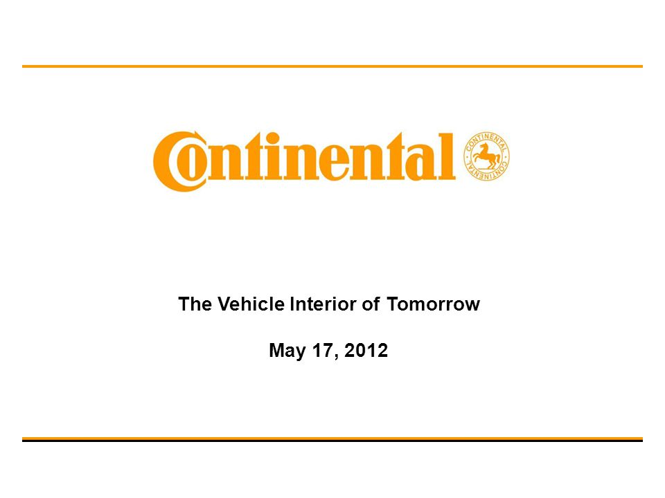 The Vehicle Interior of Tomorrow May 17, 2012