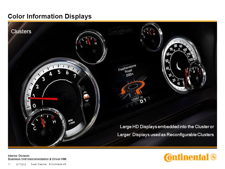 Interior Division Business Unit Instrumentation & Driver HMI Large HD Displays embedded into the Cluster or Larger Displays used as Reconfigurable Clusters Clusters 5/17/2012 11Susan Drescher, © Continental AG Color Information Displays