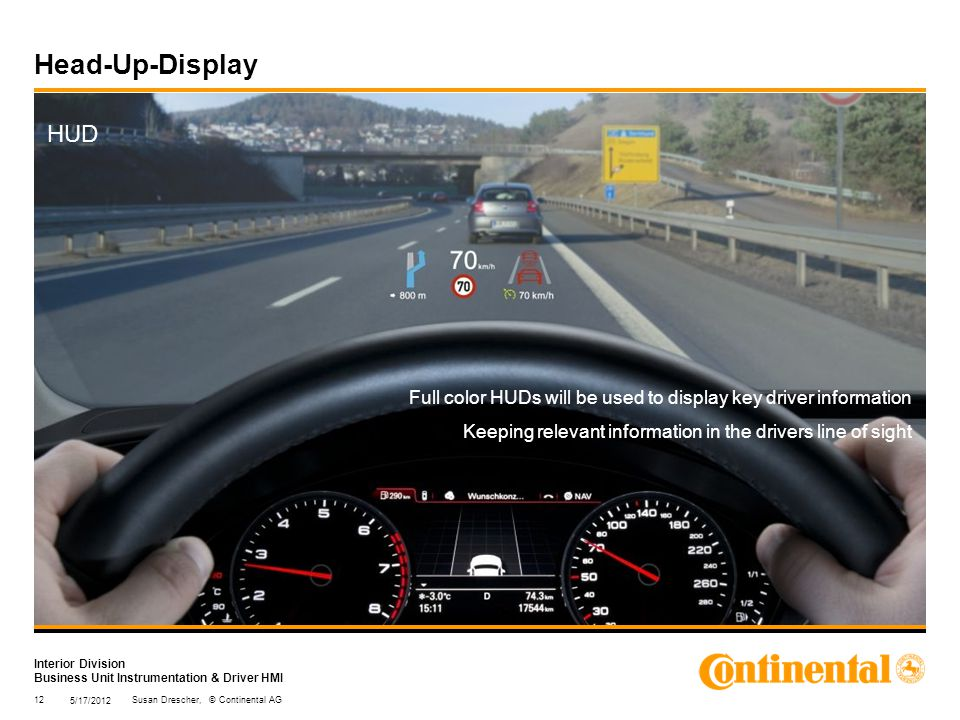 Interior Division Business Unit Instrumentation & Driver HMI Head-Up-Display HUD Full color HUDs will be used to display key driver information Keeping relevant information in the drivers line of sight 5/17/2012 12Susan Drescher, © Continental AG