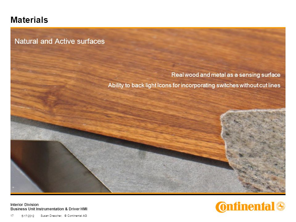 Interior Division Business Unit Instrumentation & Driver HMI Materials Natural and Active surfaces Real wood and metal as a sensing surface Ability to back light Icons for incorporating switches without cut lines 5/17/2012 17Susan Drescher, © Continental AG