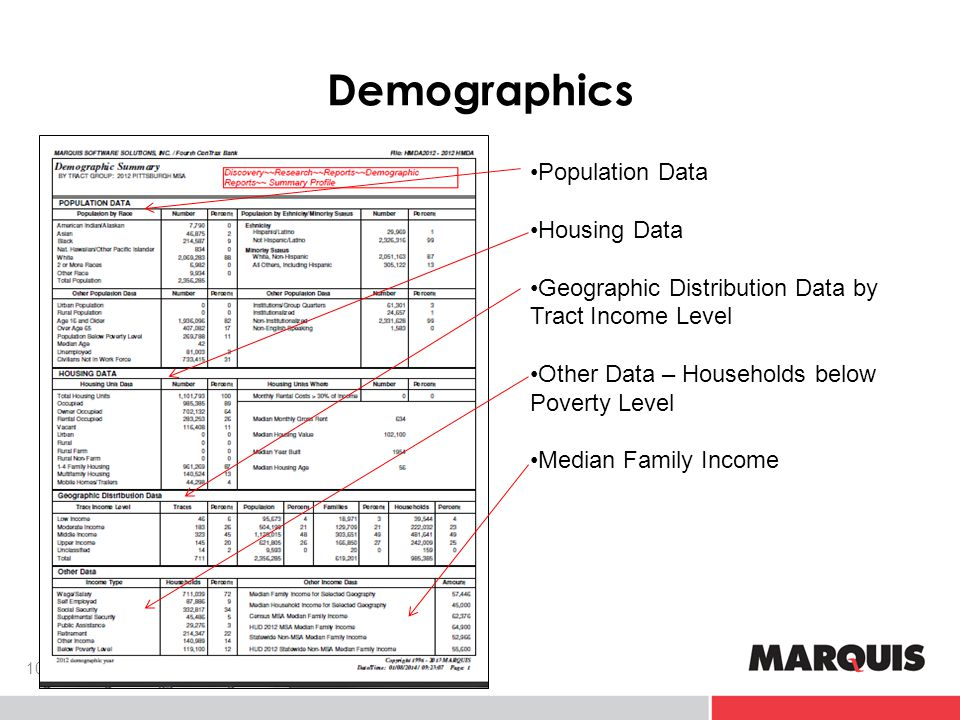 Demographics 10 Population Data Housing Data Geographic Distribution Data by Tract Income Level Other Data – Households below Poverty Level Median Family Income