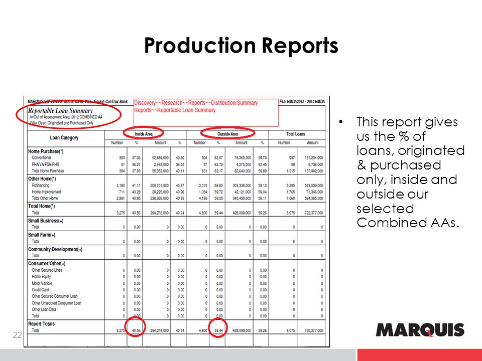 Production Reports This report gives us the % of loans, originated & purchased only, inside and outside our selected Combined AAs.