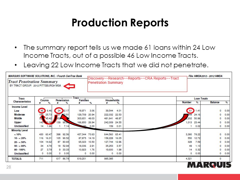 Production Reports The summary report tells us we made 61 loans within 24 Low Income Tracts, out of a possible 46 Low Income Tracts.