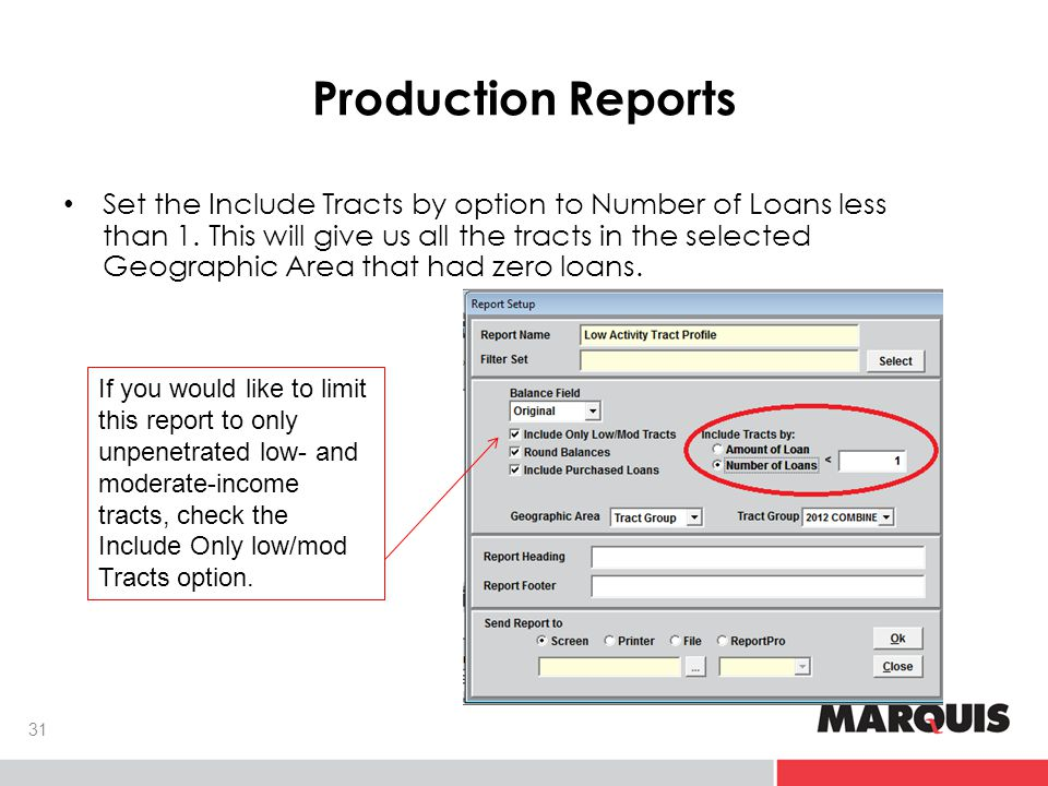Production Reports Set the Include Tracts by option to Number of Loans less than 1.