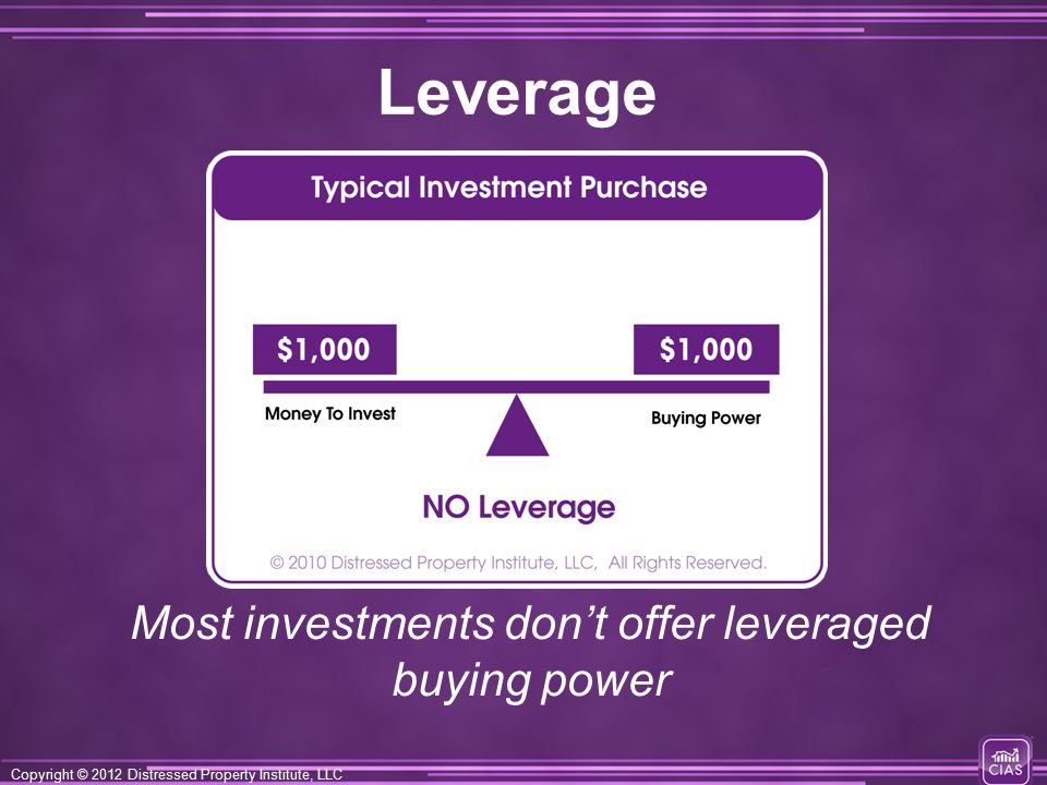Copyright © 2012 Distressed Property Institute, LLC Leverage Most investments don't offer leveraged buying power