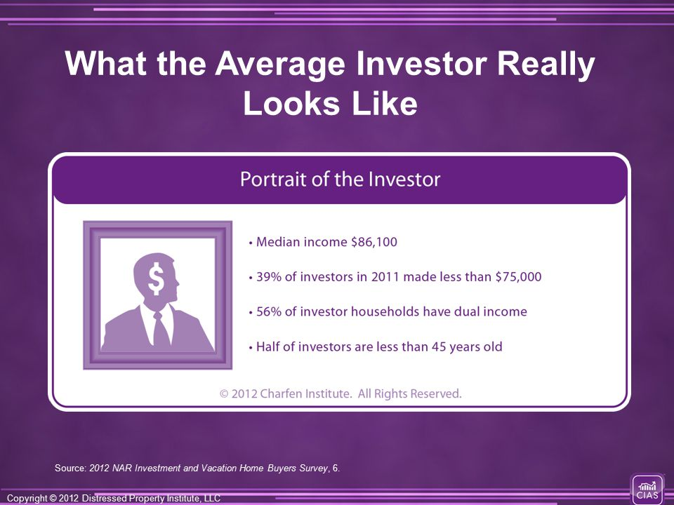 Copyright © 2012 Distressed Property Institute, LLC What the Average Investor Really Looks Like Source: 2012 NAR Investment and Vacation Home Buyers Survey, 6.