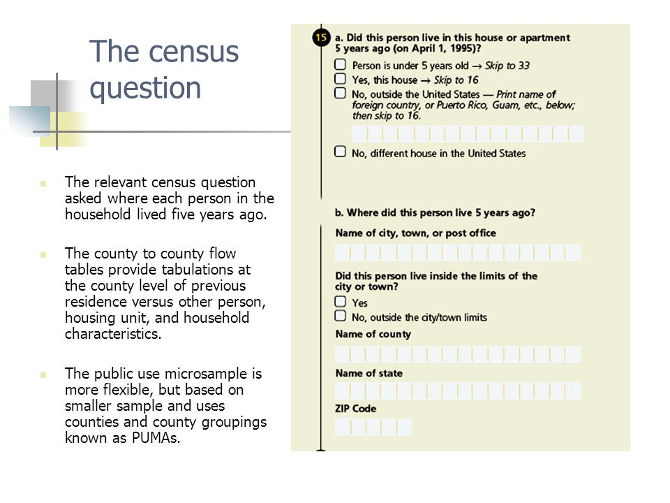 The census question The relevant census question asked where each person in the household lived five years ago.